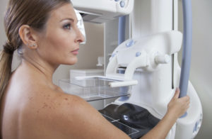 Woman Ready To Undergo Mammography Scan